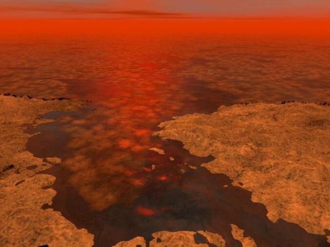 Slik ser en kunstner for seg at det kan se ut ved en av innsjøene på Titan.