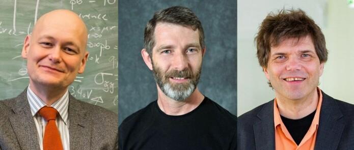 Fysikkprofessorene Are Raklev (t.v.), Alex Read og Gaute Einevoll er ikke med på at ordet «krise» gir et riktig bilde av tilstanden i faget.