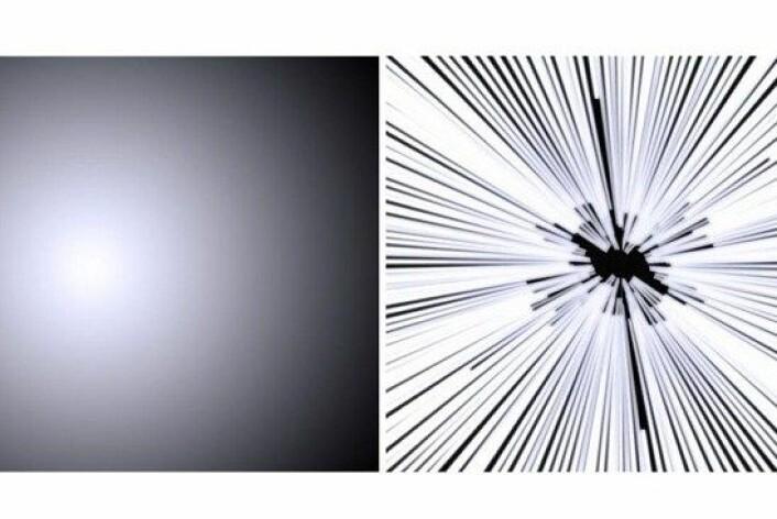 Bildet til høyre er slik en reise i lysets hastighet er fremstilt i Star Wars-filmene. Studenter ved Universitet i Leicester mener det ville sett ut som på bildet til venstre. (Foto: University of Leicester)