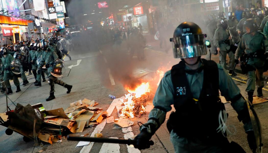 Opptøyene i Hongkong har blitt stadig mer voldelige. Her er opprørspoliti under en demonstrasjon 6. september 2019.