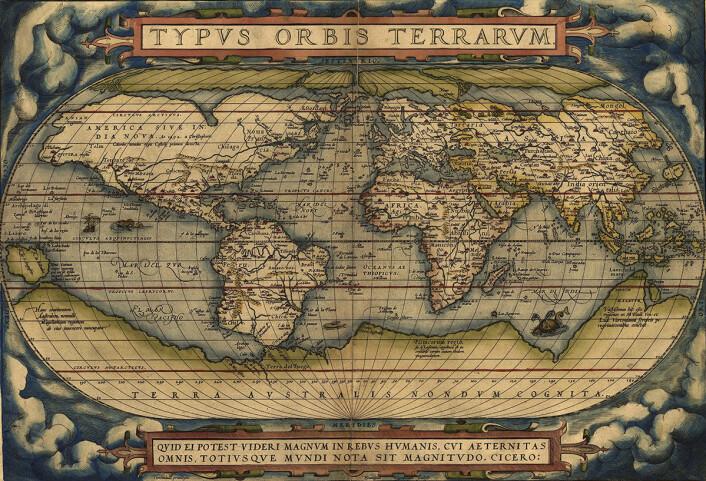 """Verdenskartet """"Typvs Orbis Terrarvm"""" tegnet av Abraham Ortelius (Abraham Ortels) i 1570. (Foto: (Bilde: U.S. Library of Congress))"""