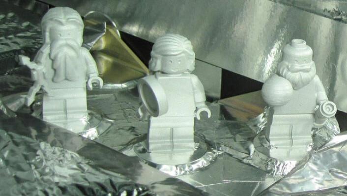 Fra venstre: Lego-Jupiter, Lego-Juno og Lego-Galileo. (Foto: NASA)
