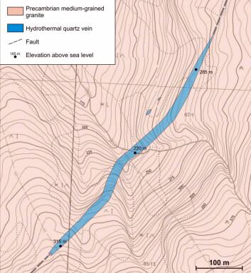 Den store og massive kvartsåra strekker seg over cirka 600 meters lengde.