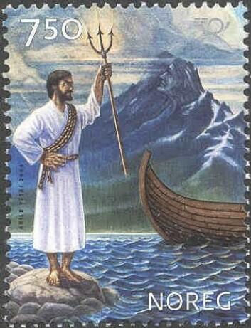 """""""Njord: Postens frimerke med havguden Njord. Utgitt 26. mars 2004. Design: Enzo Finger"""""""
