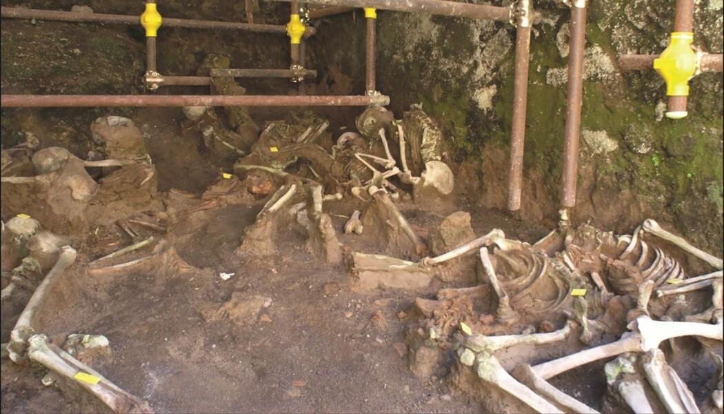 Disse menneskene søkte tilflukt under en buegang da Vesuv hadde sitt infamøse utbrudd i år 79.