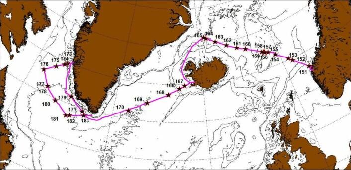 En lang reise, både til Nuuk og tilbake igjen, har gitt over 100 målestasjoner. På dette kartet er de store tegnet inn med stjerne. (Foto: (Bilde: Peter Wiebe))