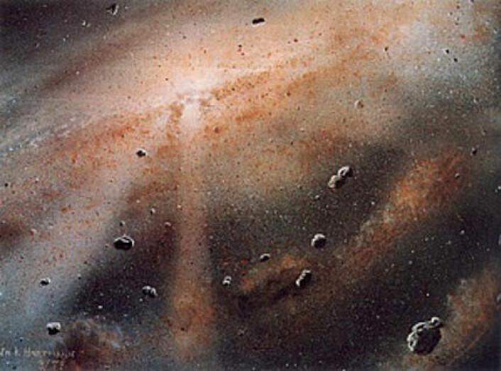 Et solsystem dannes av en sky av gass og støv. Fortetninger i skyen blir til sola i midten og planetene rundt. (Foto: (Illustrasjon: William K. Hartmann, Planetary Science Institute, Tucson, Arizona/NASA))