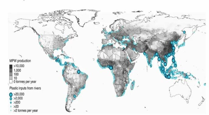 Kart over elver med høy utslipp av plastsøppel
