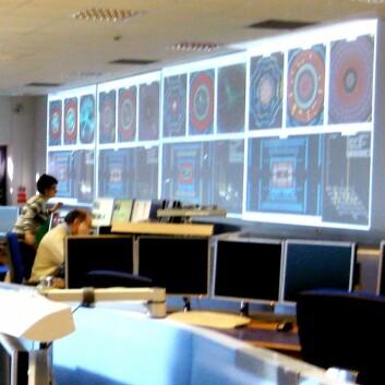 Kontrollrommet på Atlasdetektoren, der de har monitorert protonkollisjonene som avdekket den nye partikkelen. (Foto: Marianne Nordahl)