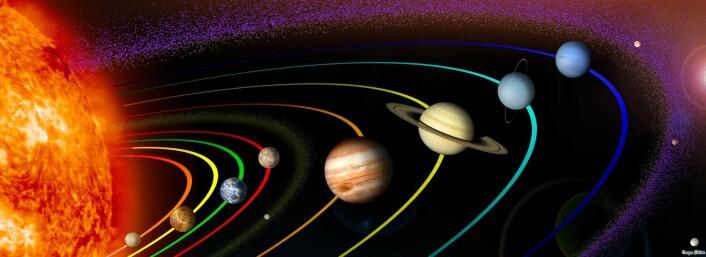 Helt ytterst, som en lilla, prikkete ring, ligger Kuiperbeltet rundt solsystemet vårt. Steinene i beltet er så små at de er ekstremt vanskelige å se herfra, men for Jane Luu og David Jewitt betalte nitide observasjoner seg endelig i 1992. (Foto: (Illustrasjon: NASA/Flickr Creative Commons))