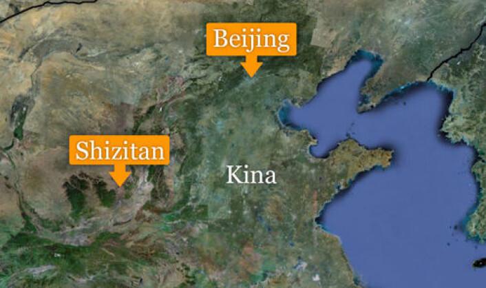 Funnstedet Shizitan ligger i det nordlige Kina. (Foto: (Kart: Google Maps/tilpasset forskning.no/Per Byhring))
