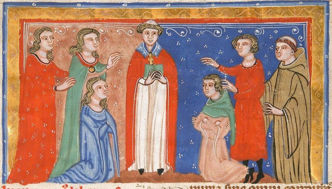 Tegning av bryllup rundt år 1300 fra et italiensk manuskript. Da hadde kirken akkurat løsnet litt på ekteskapsreglene.