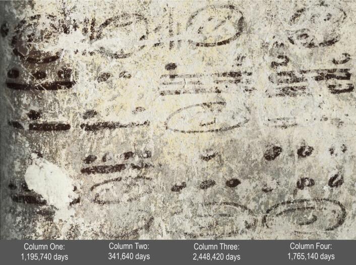 Fire lange tall ser ut til å ha noe å gjøre med beregninger av bevegelsene til månen og sola, og kanskje Venus og Mars. Datoene strekker seg nesten 7000 år inn i framtida. Forskerne kjenner ikke betydningen av disse utregningene. (Foto: William Saturno og David Stuart/National Geographic)