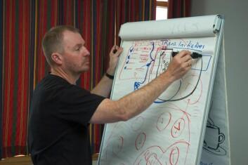 Per Ingvar Haukeland fra Telemarksforsking forsker på utviklingen av Transition Town-bevegelsen i Norge. (Foto: Lars Ove Kvalbein)