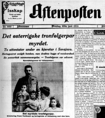 Aftenpostens hyllest 29. juni 1914 til den myrdede erkehertugen Frantz Ferdinand var storslått. (Foto: (Faksimile))