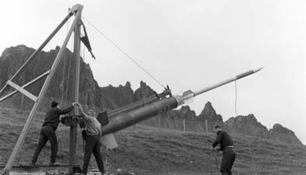 Under forberedelsene til oppskytingen av Ferdinand 1, den aller første raketten fra Andøya, sommeren 1962. Andøya Rakettskytefelt