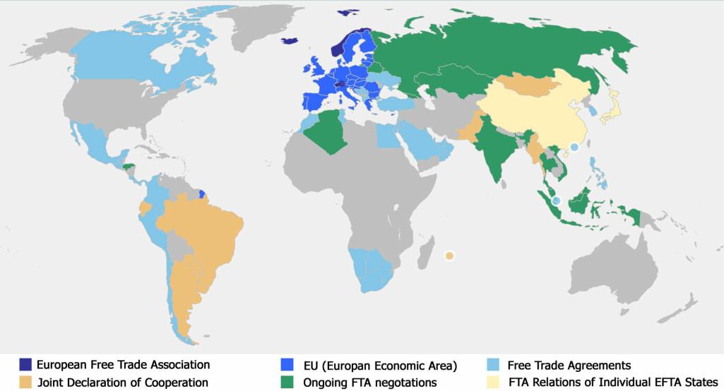 Kartet viser hvilke frihandelsavtaler Norge har.