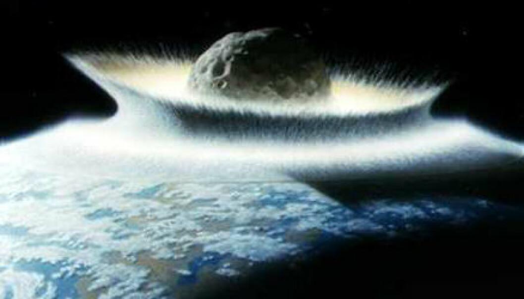 """""""Asteroider og kometer kan ha vært både livgivere og masseødeleggere i jordas historie. (Illustrasjon: NASA)"""""""