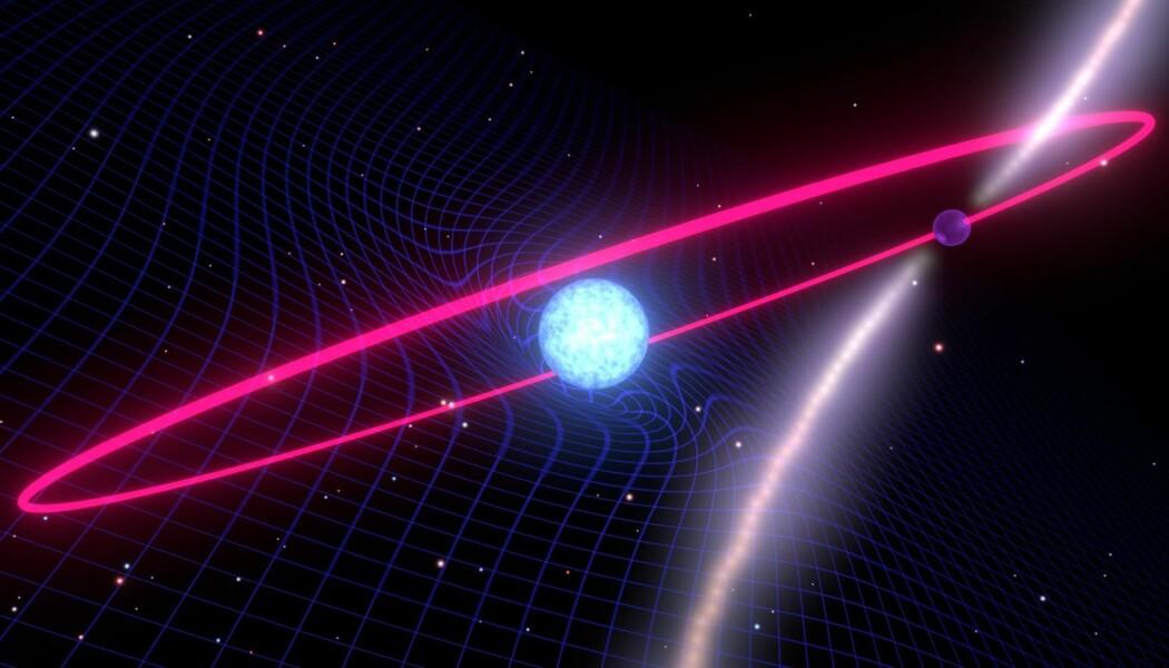 En hvit dverg-stjerne med en nøytron-stjerne i bane rundt seg. Begge disse stjernene deformerer rommet rundt seg på grunn av sin store masse. Dette er en kunstnerisk framstilling.