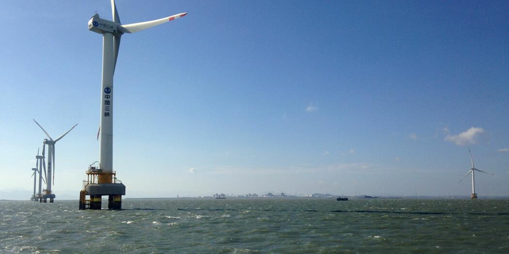 Myndighetene i Kina legger til rette for innovasjon innen fornybart og gir stor statlig støtte til blant annet vindkraft til havs. Her fra havvindmøller ved Rudong.
