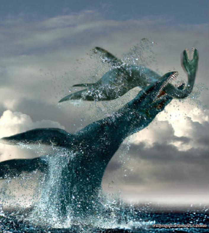 Jørn Hurum og Tor Sponga ville ikke bare lage et kjedelig profilbilde av Predator X da arten skulle presenteres. Resultatet ble en livat forhistorisk jaktscene. (Bilde: Tor Sponga/BT)