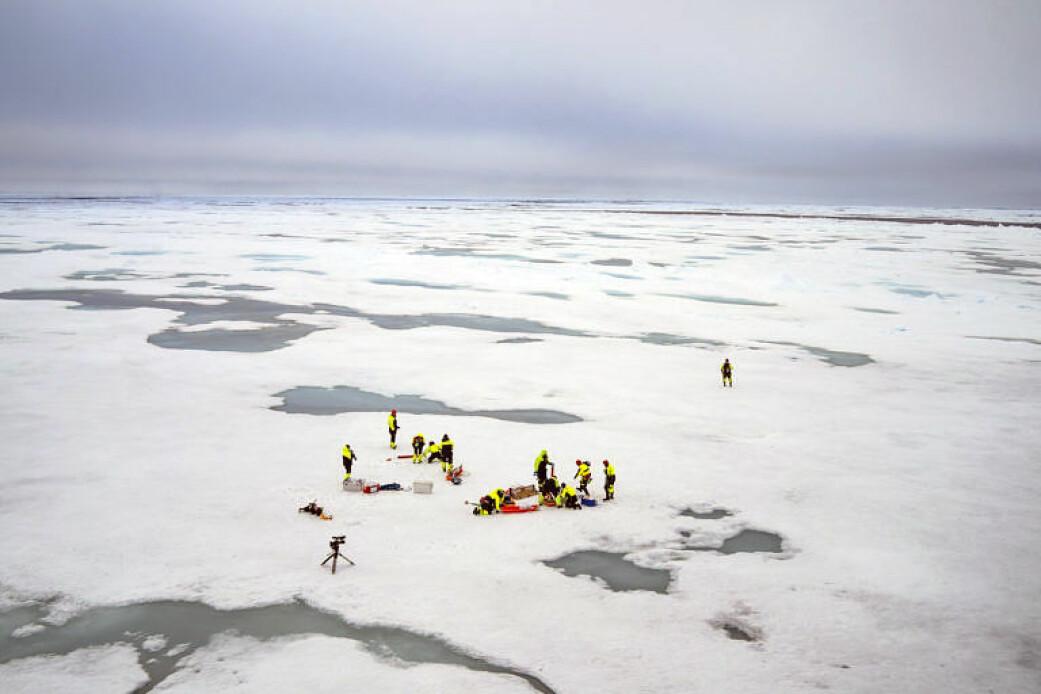Forskere samler inn prøver fra is og vann.