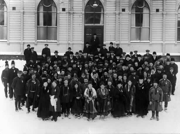 Delegatene ved det første samiske landsmøtet i februar 1917, Trondheim.