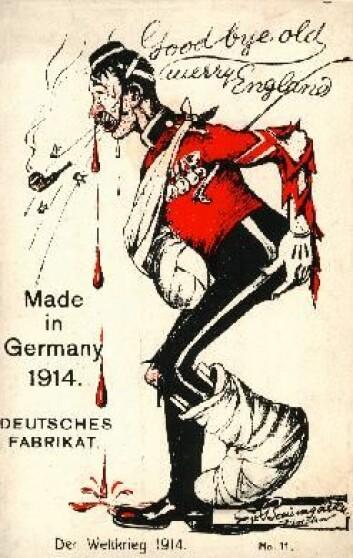 Å spotte motstanderen ble en del av krigspropagandaen under 1. verdenskrig. Her et tysk postkort som viser en hjelpeløs britisk soldat. (Foto: (Tysk postkort))