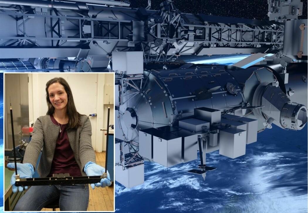 Overingeniør Maren Charlotte Lithun med måleapparatet som snart skal festes til Den internasjonale romstasjonen.