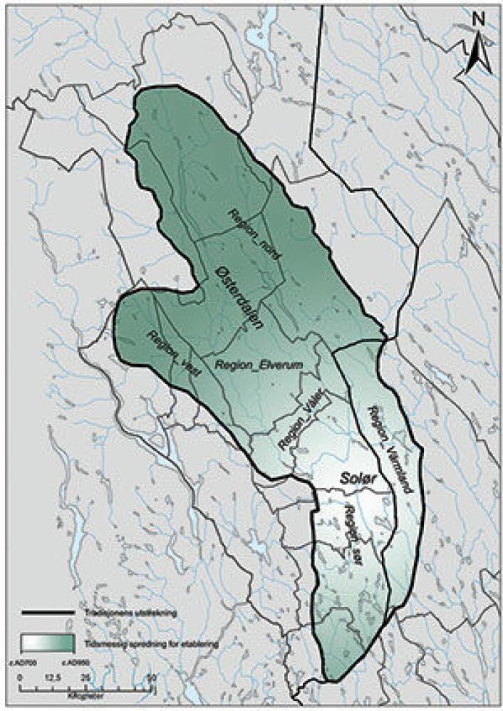 Spredning av jernutvinningsteknologi i Hedmark, ca AD 700-950. I perioden ca AD 950-1300 pågikk det produksjon i hele dette området. (Foto: (Illustrasjon: Bernt Rundberget))