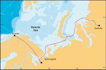 Kart over sjøruta som jubileumsekspedisjonen fulgte hundre år etter Nansen. (Foto: (Polarinstituttet))