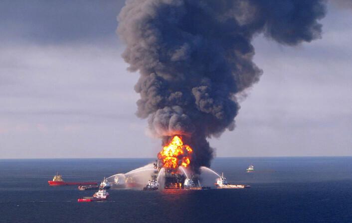 Deepwater Horizon-ulykken i 2010 forårsaken historiens største oljeutslipp til havet. (Foto: US Coast Guard)