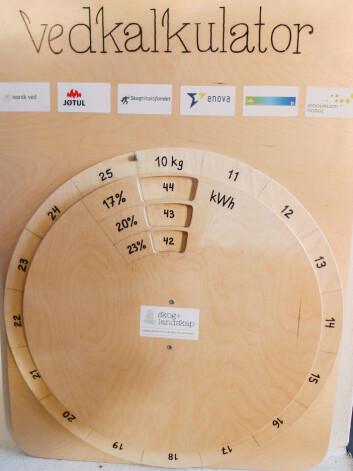 Kalkulator for beregning av energiinnhold i en småsekk med ved ut fra vekt og fuktighetsinnhold. Utviklet ved Skog og landskap. (Foto: Eirik Nordhagen / Skog og landskap)