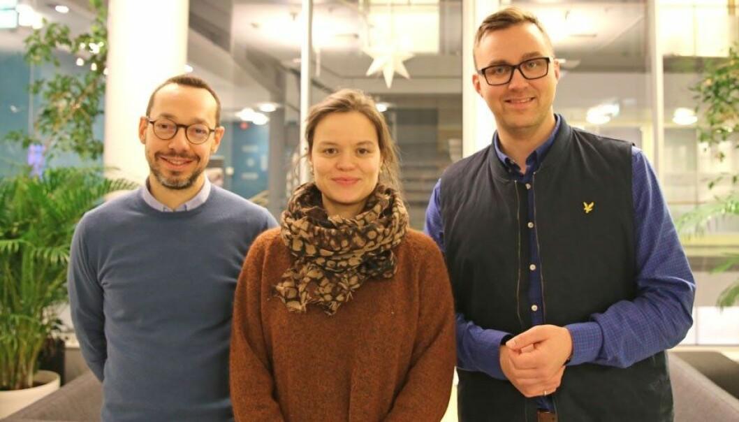 Fra venstre: Paolo Zanaboni, Eli Kristiansen og Asbjørn Johansen Fagerlund i Nasjonalt senter for e-helseforskning.
