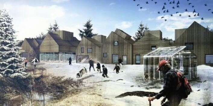Et av arkitektforslagene til framtidas Brøset om vinteren. (Foto: (Illustrasjon: SLA))