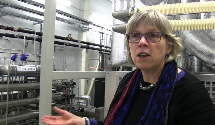 Bjørg Andresen, daglig leder i ZEG Power - Zero Emission Gas Power, i verdens første produserende forsøksanlegg med teknologi som produserer elektrisk strøm og hydrogen, samtidig som det kan hente ut CO2 fra prosessen. (Foto: Arnfinn Christensen, forskning.no)