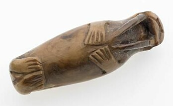 A small walrus figurine, carved from a walrus tooth, from the Library Site in medieval Trondheim and now held by the NTNU University Museum.
