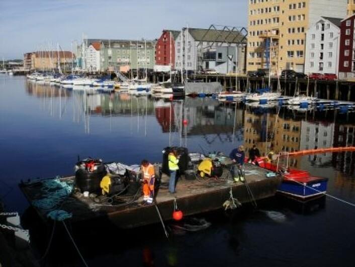 """""""Utlegging av aktivt kull ved å pumpe det ned i bunnen av kanalen i Trondheim fra flåte. (Foto: NGI)"""""""