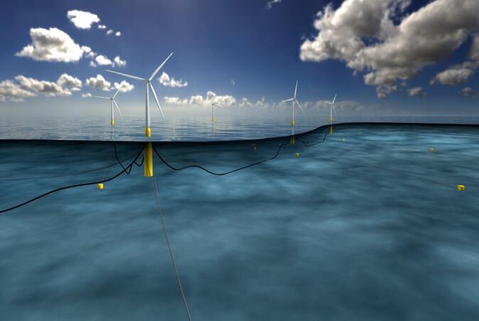 Flytande havvindmøller av typen Hywind med botnforankringar.