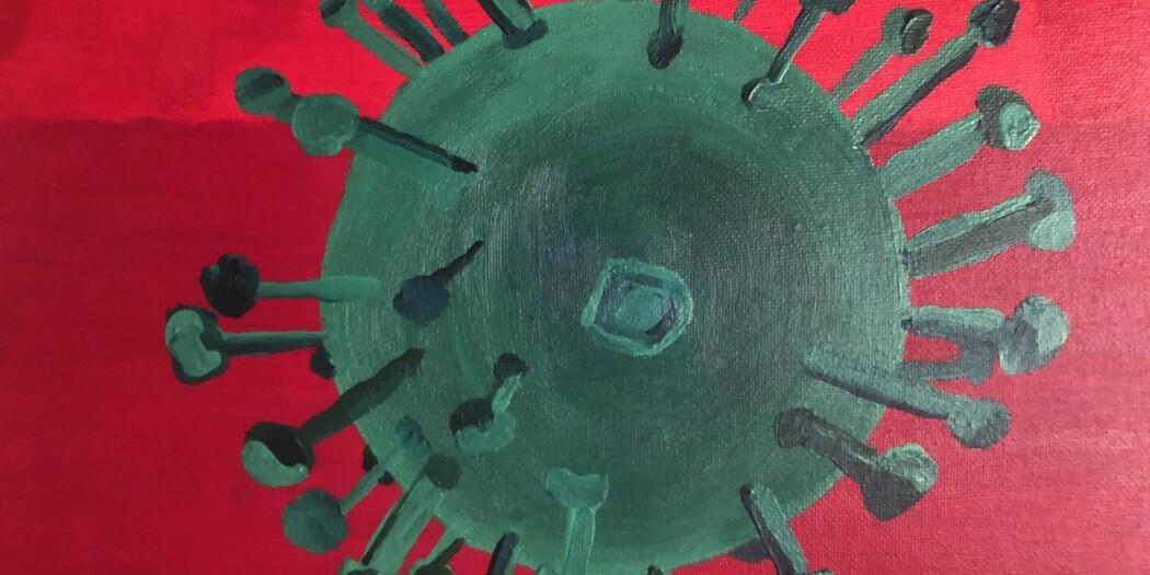 Maleri av et influensavirus.