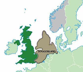 Det tenkte omfanget av Doggerland 10,000 f.Kr.