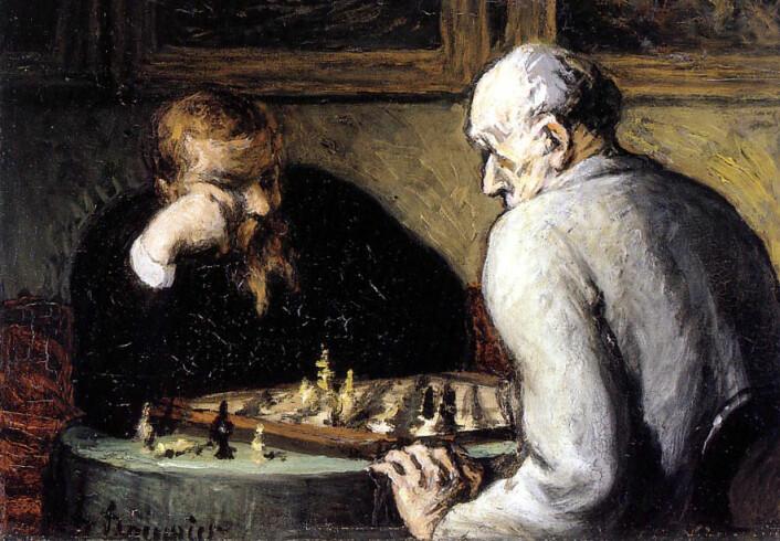 Det er spillet og spillerne, ikke brikkene, som er viktig. Honoré Daumier: Sjakkspillerne, oljemaleri, 1863. (Foto: (Bilde: Wikimedia Commons))