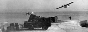 Catalina-fly over hjemmebasen i Woodhaven i Skottland under andre verdenskrig. (Foto: 333 skvadron)