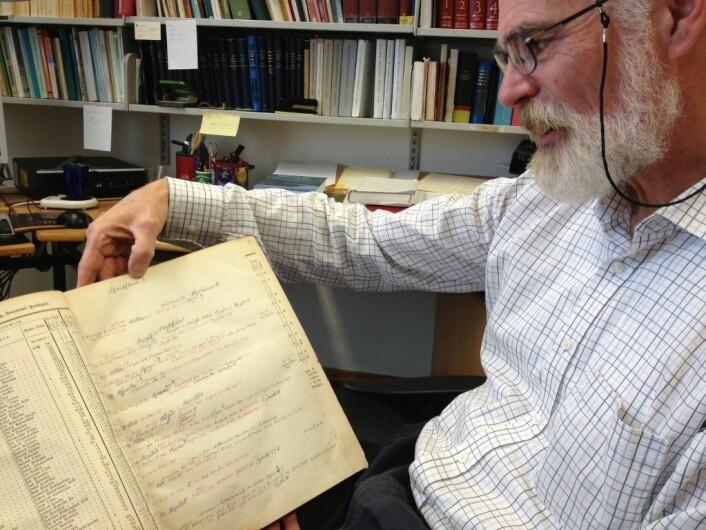Tom Schmidt viser fram den norske navneforskeren og arkeologen Oluf Ryghs nedtegnelser som han gjorde da han skulle fornorske norske gårdsnavn på 1800-tallet. For å skjønne betydningen, måtte han finne både uttalen, beliggenheten og den gamle skriftformen av navnet. (Foto: Marianne Nordahl)