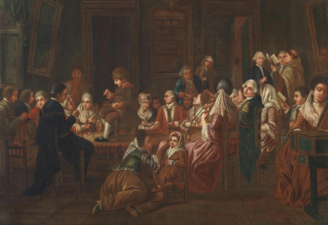 Den berømte - og etterhvert noe beryktede - Franz Mesmer helbreder pasienter ved hjelp av mystisk magnetisme. Mesmer selv står i bakgrunnen med en metallstav i hånden. Seansene skulle føre til et viktig vendepunkt i medisinsk historie. Her foreviget av en fransk maler rundt 1780.