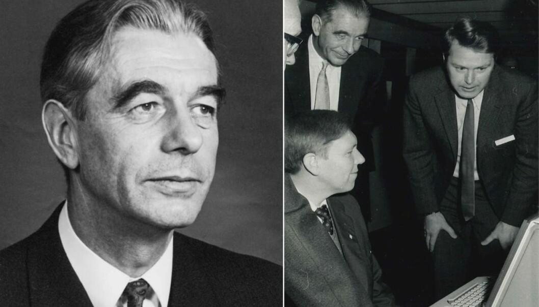 Selmer var en pådriver for å få etablert infrastruktur for tungregning – det vi i dag ville kalt skikkelig datakraft – i Bergen. Til høyre beundrer Selmer UiBs nyanskaffede UNIVAC-maskin i 1973 sammen med Magne Lerheim og Kåre Bjørnenak. Selmer var styreformann for EDB-avdelingen på UiB fra 1970.