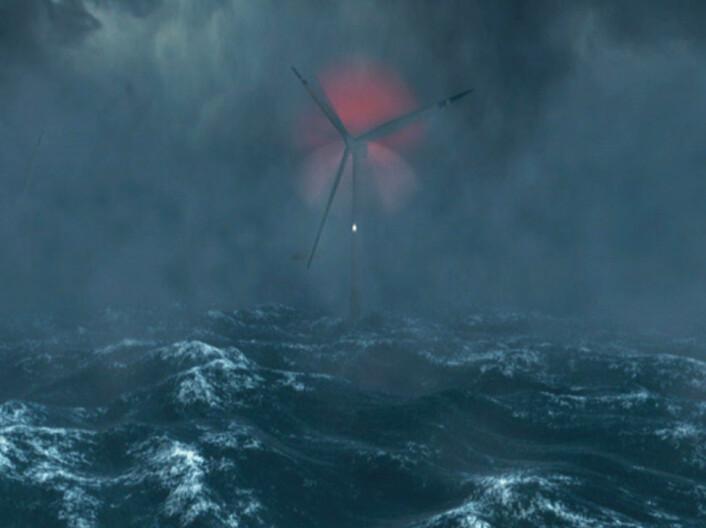 Hywind er flytende vindmøller som installeres til havs. (Foto: (Illustrasjon: Fra videoanimasjon av Statoil))