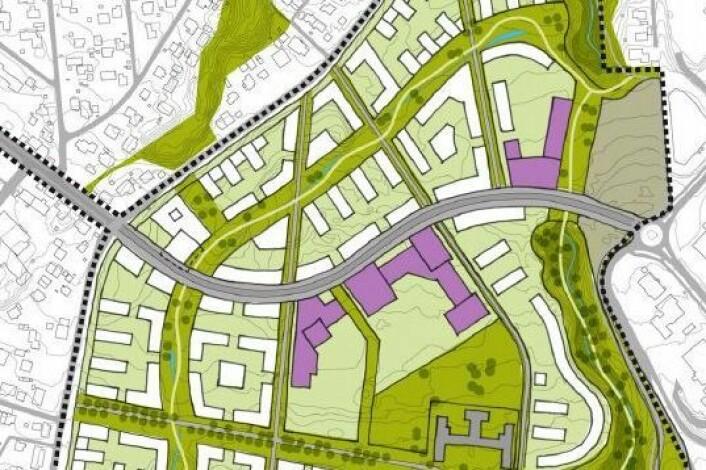 Utdrag av områdeplanen for Brøset. Boliger (hvitt), offentlige bygg (lilla). Den brede kollektivåren slynger seg gjennom området. (Foto: Trondheim kommune)