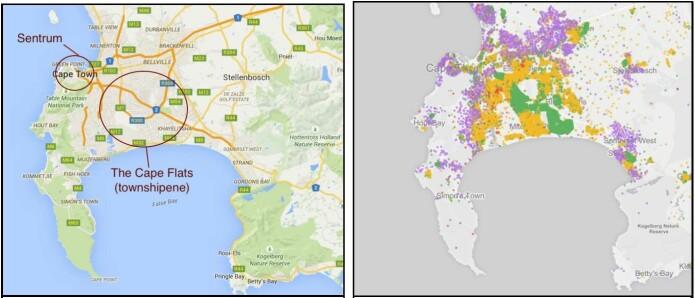 Til venstre: Skjermdump fra google maps. Til høyre: Skjermdump fra kart konstruert av Adrian Frith. Basert på statistikk fra Statistics South Africa Census 2011 viser kartet befolkningens bosettingsmønstre utifra et rase-perspektiv. I nasjonale statistikker deles befolkning fremdeles inn i fire rasekategorier (hvit, farget, svart og asiat/indisk).