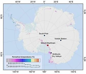 Fordeling av permafrost og bakketemperaturer i Antarktis. Mount Markham er markert med rødt og ligger i nordenden av Markham Plateu.